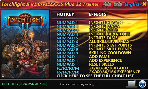 TORCHLIGHT II 1.9.5.1-1.23.5.5 +22 TRAINER [FLING]