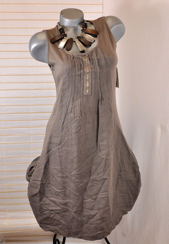 100 leinen kleid tunika lagenlook braun 38 40 ebay. Black Bedroom Furniture Sets. Home Design Ideas