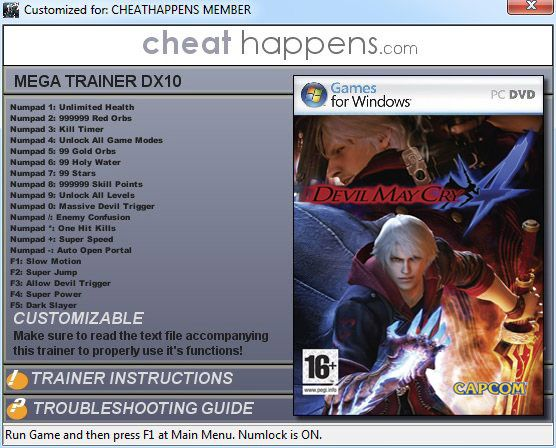 devilmaycry419trainerfo Devil May Cry 4 v1.0 +19 Trainer for DX9 & DX10